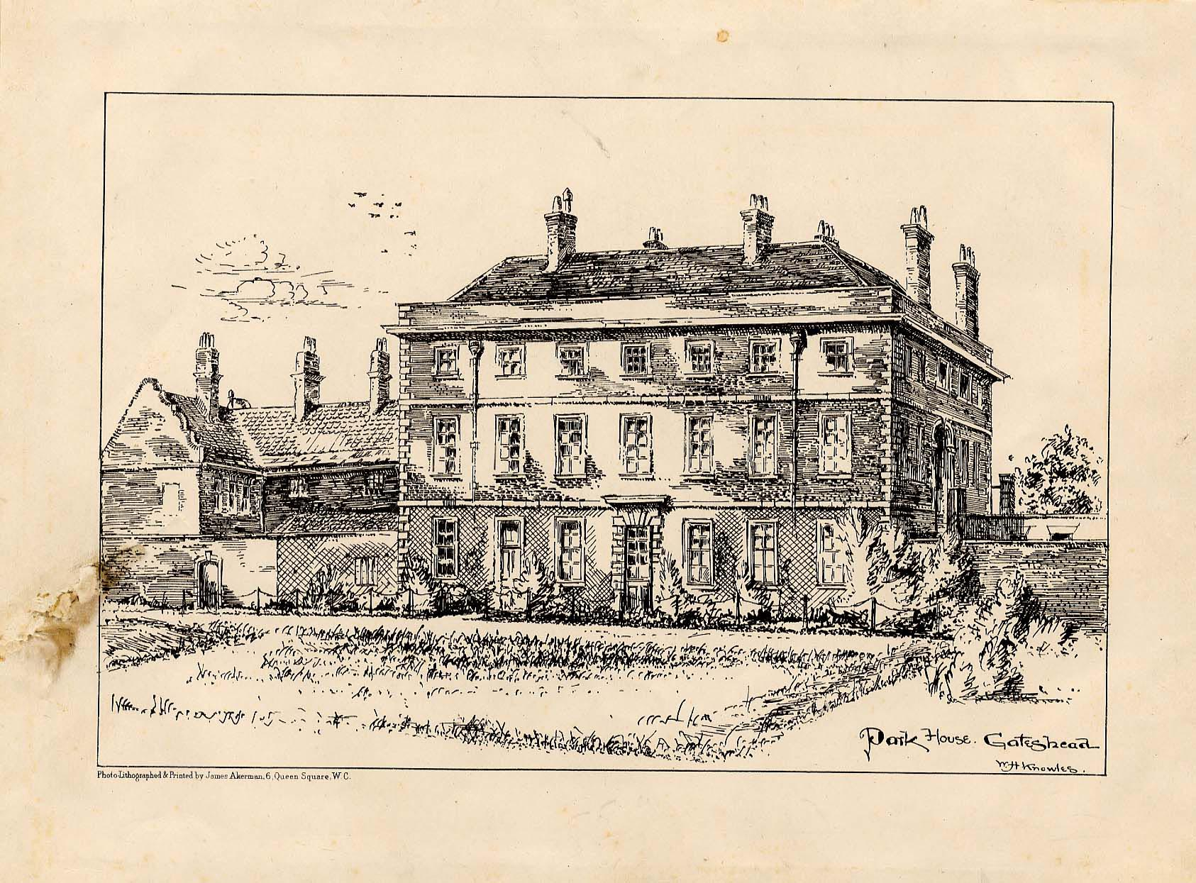 Park House, Gateshead. From a drawing by W H Knowles