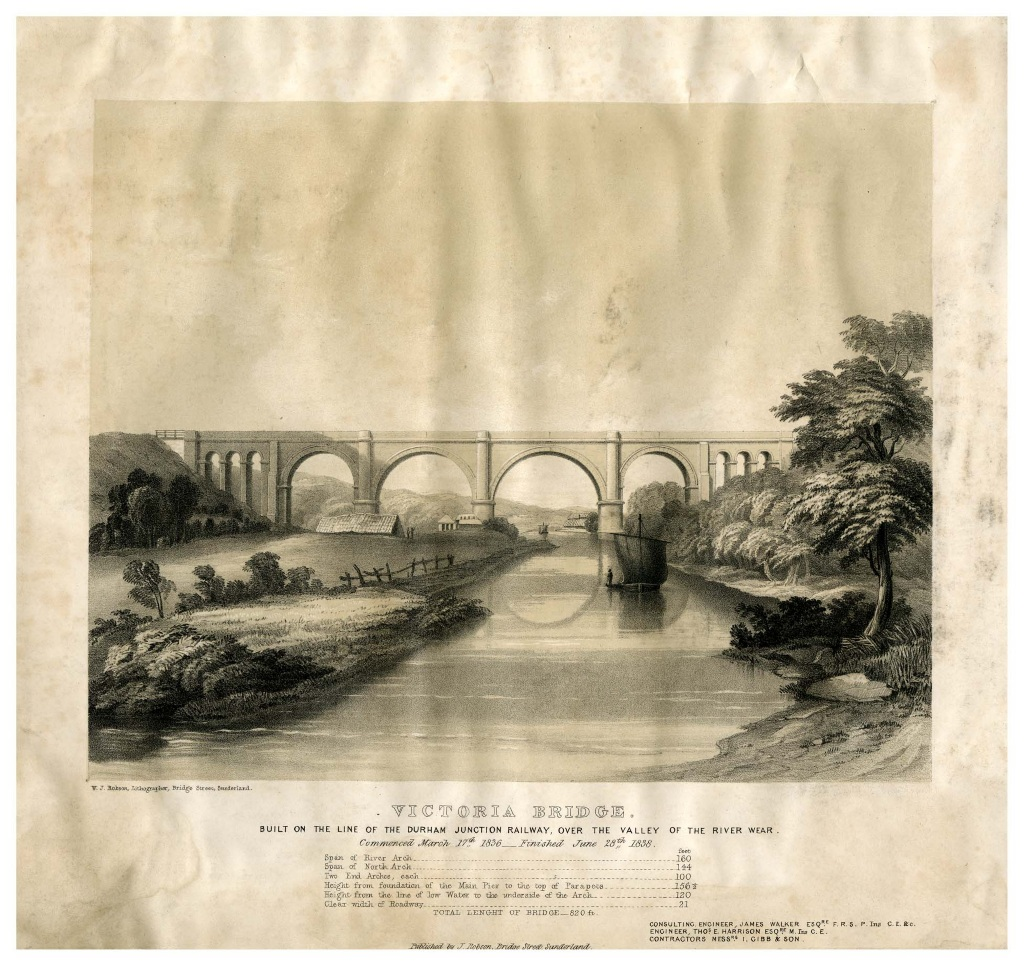 Victoria Bridge built on the line of the Durham Junction Railway, over the valley of the River Wear